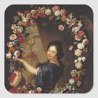 Portrait of a Woman Surrounded by Flowers Square Sticker