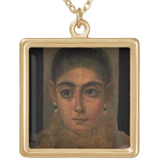 Portrait of a woman wearing a gold pectoral, tomb gold plated necklace