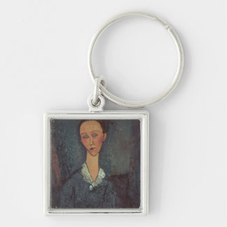 Portrait of a Woman with a White Collar (oil on ca Keychain