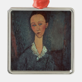 Portrait of a Woman with a White Collar (oil on ca Metal Ornament