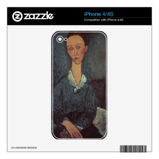 Portrait of a Woman with a White Collar (oil on ca iPhone 4S Decals