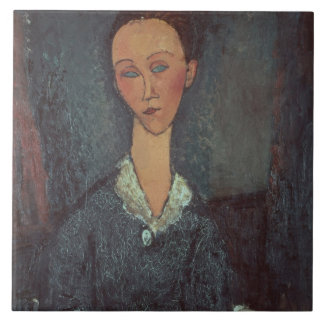 Portrait of a Woman with a White Collar (oil on ca Tile