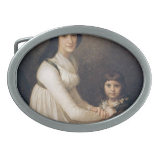 Portrait of a woman with child by Pierre Prud'hon Oval Belt Buckle