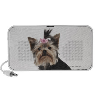 Portrait of a Yorkshire Terrier dog Portable Speakers