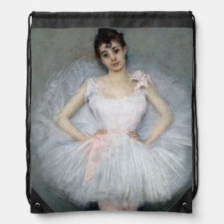 Portrait of a Young Ballerina Drawstring Bag