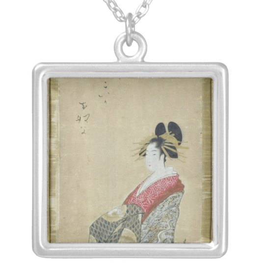 Portrait of a young courtesan silver plated necklace