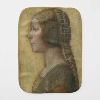 Portrait of a Young Fiancee by Leonardo da Vinci Baby Burp Cloth