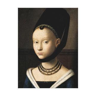 Portrait of a Young Girl (Christus) 1465-1470 Canvas Print