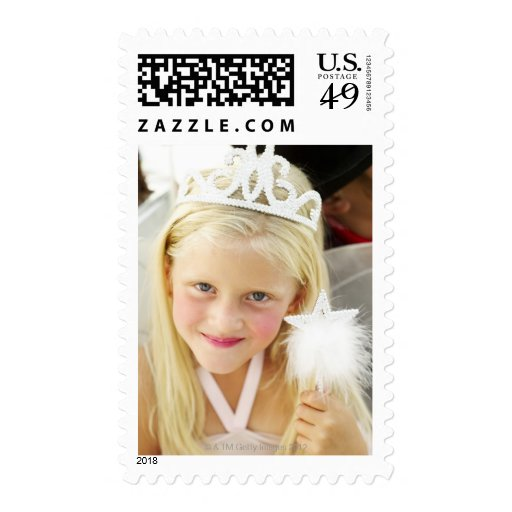 portrait of a young girl dressed up as a fairy stamp