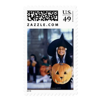 portrait of a young girl dressed up as a witch postage