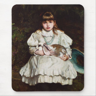 Portrait of a Young Girl Holding a Pet Rabbit Mouse Pad