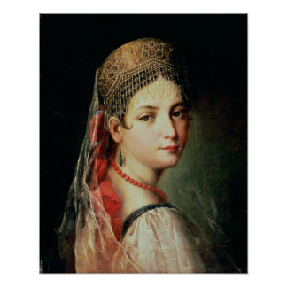 Portrait of a Young Girl in Sarafan and Poster