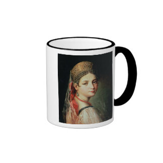 Portrait of a Young Girl in Sarafan and Ringer Mug