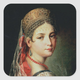 Portrait of a Young Girl in Sarafan and Square Sticker
