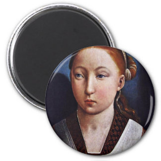 Portrait Of A Young Girl (Joanna The Mad?) By Flan 2 Inch Round Magnet
