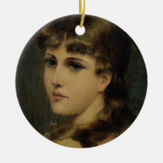 Portrait of a Young Girl (oil on panel) Ceramic Ornament