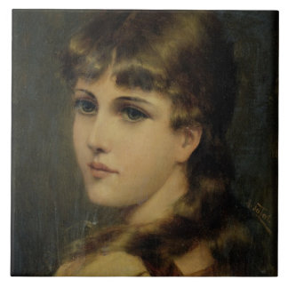 Portrait of a Young Girl (oil on panel) Ceramic Tile