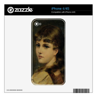 Portrait of a Young Girl (oil on panel) Decal For The iPhone 4S