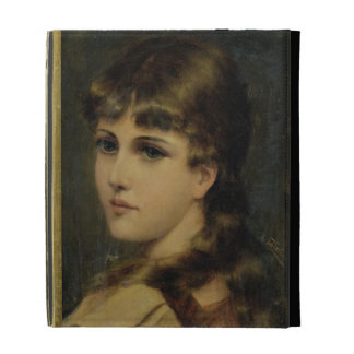 Portrait of a Young Girl (oil on panel) iPad Folio Covers