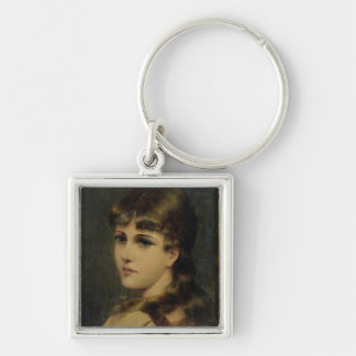 Portrait of a Young Girl (oil on panel) Keychains