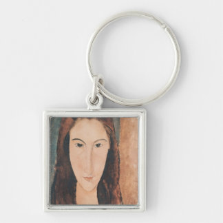 Portrait of a Young Girl Silver-Colored Square Keychain