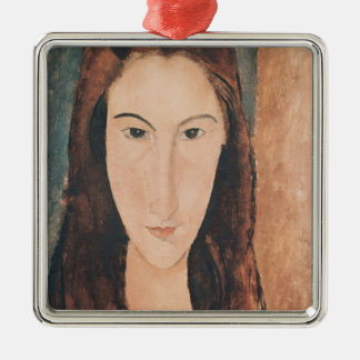 Portrait of a Young Girl Square Metal Christmas Ornament