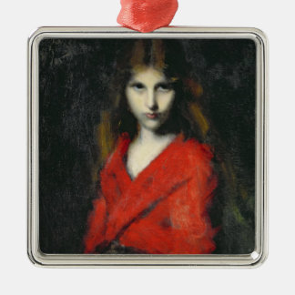 Portrait of a Young Girl, The Shiverer Metal Ornament