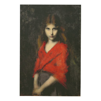 Portrait of a Young Girl, The Shiverer Wood Print