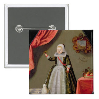 Portrait of a Young Girl with a Bird Pinback Button