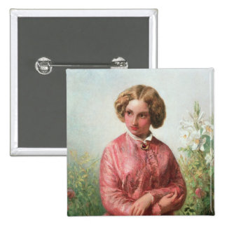 Portrait of a young girl with a rose pinback button