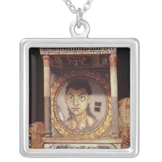 Portrait of a young girl with offerings square pendant necklace