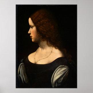 Portrait of a Young Lady,1500,Leonardo da Vinci Poster