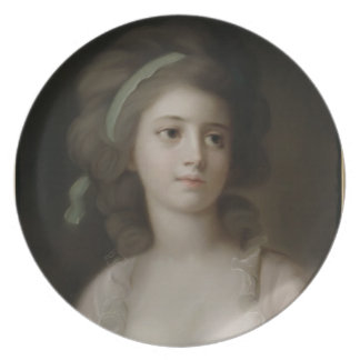 Portrait of a Young Lady (pastel on paper) Dinner Plate
