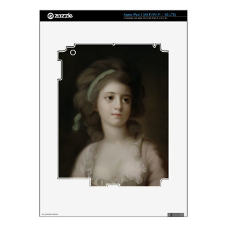 Portrait of a Young Lady (pastel on paper) iPad 3 Decals
