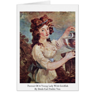 Portrait Of A Young Lady With Goldfish Greeting Cards