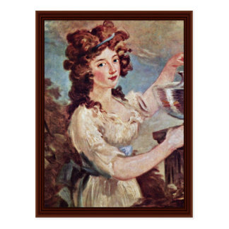 Portrait Of A Young Lady With Goldfish Post Card
