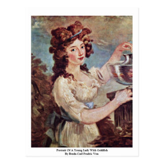 Portrait Of A Young Lady With Goldfish Postcard