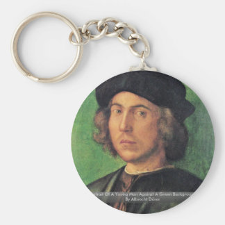 Portrait Of A Young Man Against A Green Background Keychain