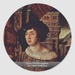 Portrait Of A Young Man By Holbein Ambrosius Round Sticker