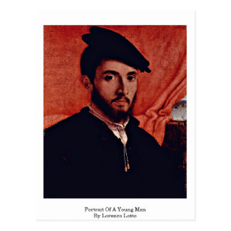 Portrait Of A Young Man By Lorenzo Lotto Postcard