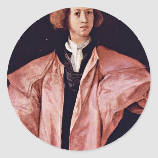 Portrait Of A Young Man By Pontormo Jacopo Best Q Round Stickers