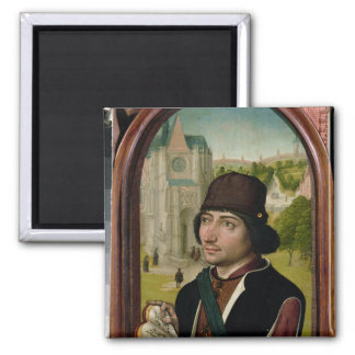 Portrait of a Young Man, c.1480 2 Inch Square Magnet