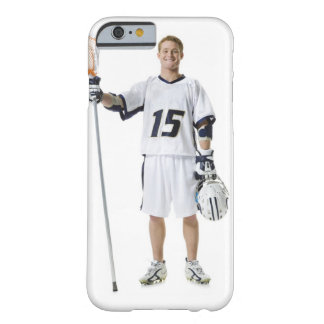 Portrait of a young man holding a lacrosse stick barely there iPhone 6 case