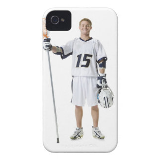 Portrait of a young man holding a lacrosse stick Case-Mate iPhone 4 case