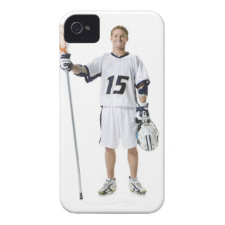 Portrait of a young man holding a lacrosse stick iPhone 4 cover