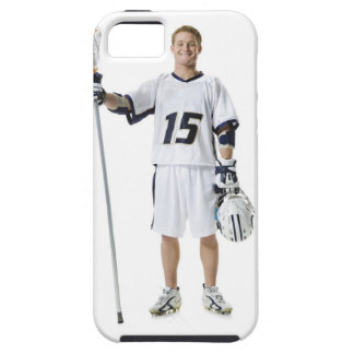 Portrait of a young man holding a lacrosse stick iPhone SE/5/5s case
