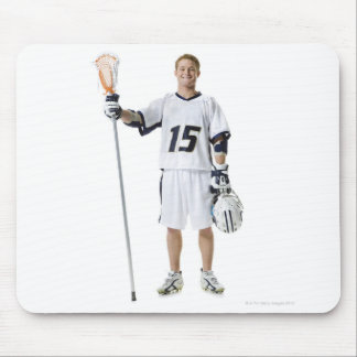 Portrait of a young man holding a lacrosse stick mouse pad