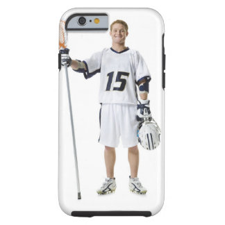 Portrait of a young man holding a lacrosse stick tough iPhone 6 case