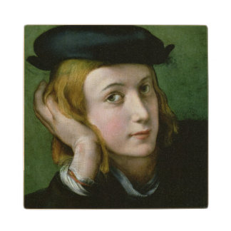 Portrait of a Young Man (oil on panel) Wooden Coaster