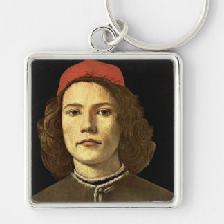 'Portrait of a Young Man' Silver-Colored Square Keychain